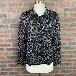 Misook Animal Print Button Up Blazer, Sz L